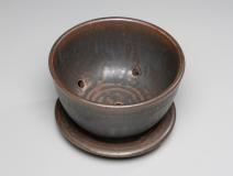 Berry Bowl -- black ash glaze -- 3.75x5.5x5.5