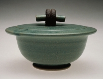 Covered Bowl, Green Glaze 3.75 x 6 x 6