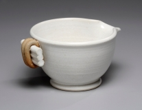 Pouring bowl -- white satin -- 3.5x7x7.5